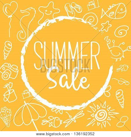 Summer Sale Vector Illustration. Text on a Orange Badge and a Background full of Summer Elements.
