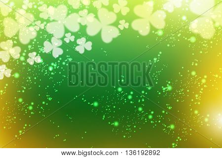 Clovers flying at the viewer on a green background