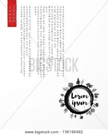 Design template with black enso zen circle with trees and place for your text on white background. Traditional Japanese ink painting sumi-e.