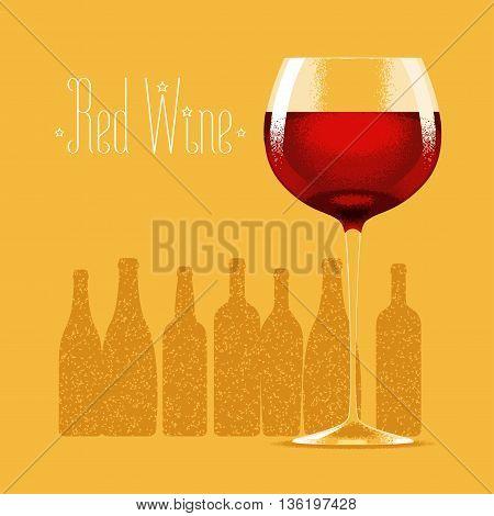 Glass of red wine vector illustration. Design element with bottles of wine, drinks for menu, restaurant, flyer, poster