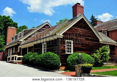 Dilwowrthtown Pennsylvania: Wooden kitchen wing at the colonial-era Dilworthtown Inn has offered lodging and dining to patrons since 1758   *