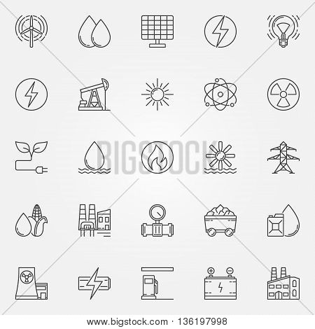 Energy icons set. Vector linear energy and power symbol or logo elements. Industrial thin line signs