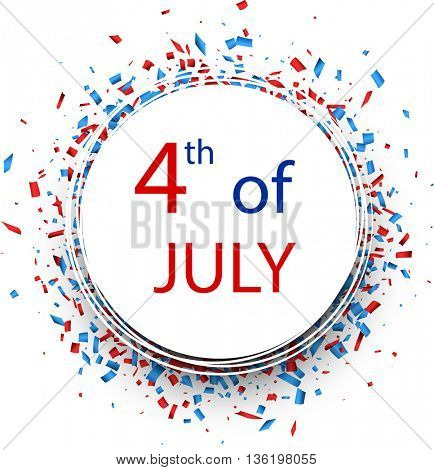 Round 4th of July Independence Day background. Vector paper illustration.