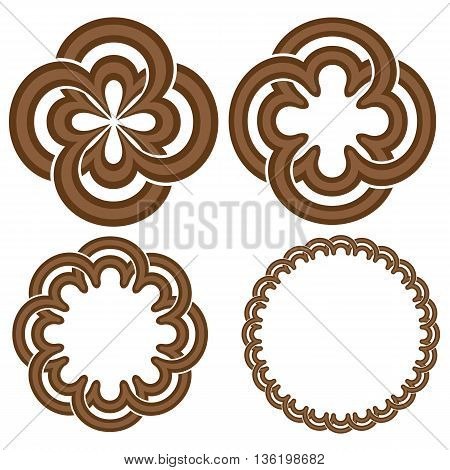 Round ornament or rosetta set. Abstract unique geometry. Vector illustration.