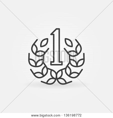 Number One line icon. Vector first place linear symbol. Minimal winner sign or logo element in thin line style