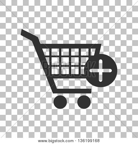 Shopping Cart with add Mark sign. Dark gray icon on transparent background.
