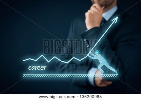 Personal and career growth and potential concepts. Coach (human resources officer or mentor or supervisor) helps employee with his growth.