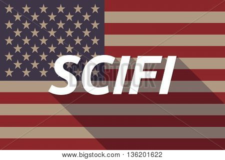 Long Shadow Usa Flag With    The Text Scifi