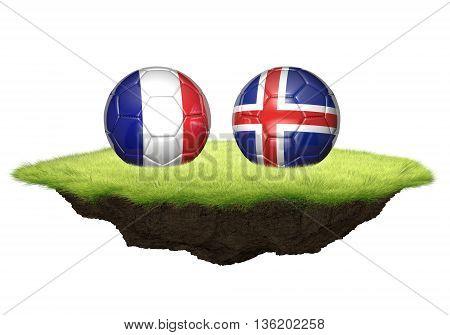 France vs Iceland team balls for football championship tournament, 3D rendering