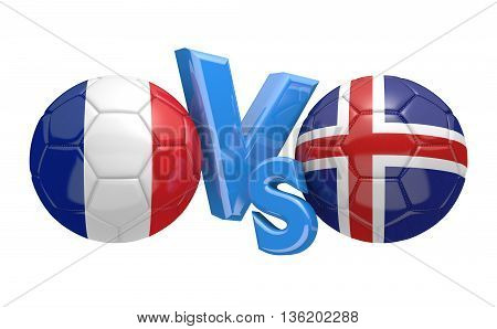 Football competition between national teams France and Iceland, 3D rendering