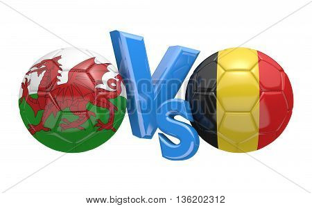 Football competition between national teams Wales and Belgium, 3D rendering