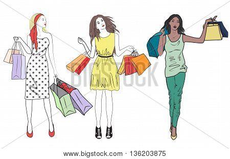 fashion shopping girls woman set. Group of happy friends shopping