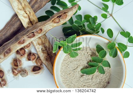 Moringa (Other names are Moringa oleifera Lam. MORINGACEAE Futaba kom hammer vegetable hum Moringa hum bug Moringa bug Hoo) leaf and seed grinded isolated on white background
