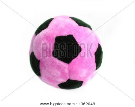 Pink And Black Soccer Ball Over White