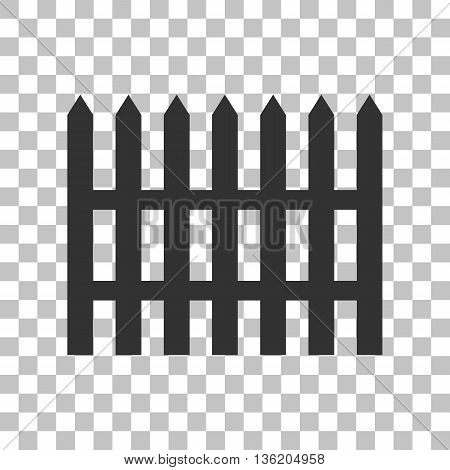 Fence simple sign. Dark gray icon on transparent background.