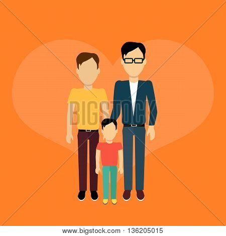 Happy family homosexual concept banner design flat style. Young family man gay with a son. Mother and father with child happiness lifestyle, vector illustration