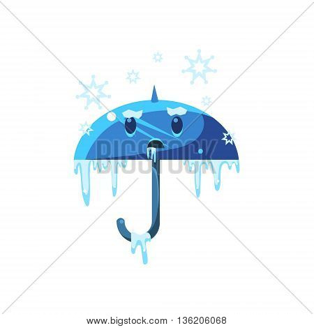 Frozen Umbrella With Ice Cute Childish Style Bright Color Design Icon Isolated On White Background