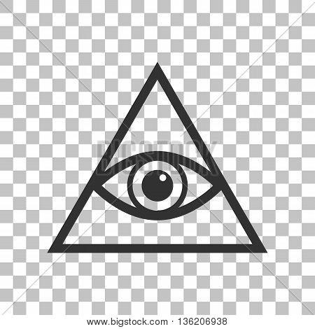 All seeing eye pyramid symbol. Freemason and spiritual. Dark gray icon on transparent background.