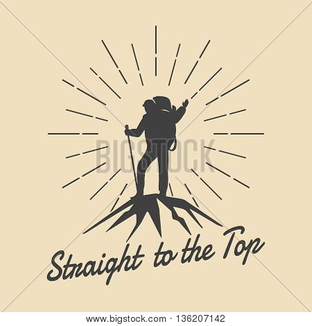 Mountain travel man retro emblem. Man on mountain peak vector logo. Peak logo, extreme adventure logo, climbing outdoor tourism logo illustration