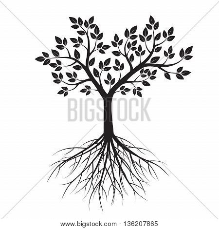 Black tree and roots. Vector Illustration. Graphic Element.