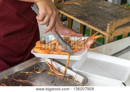 grilled shrimps on foam box, hand, grill,