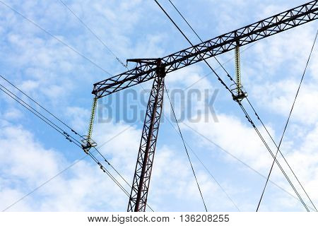 Part Of High-voltage Power Transmission Line Supports Five Hundred Thousand Volts (500) Close-up. Un
