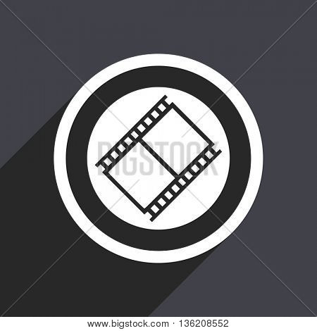 Flat design gray web movie vector icon