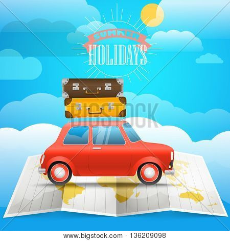 Vacation concept. Summer holidays illustration with the red car