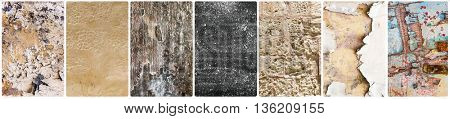 collage of different textural backgrounds