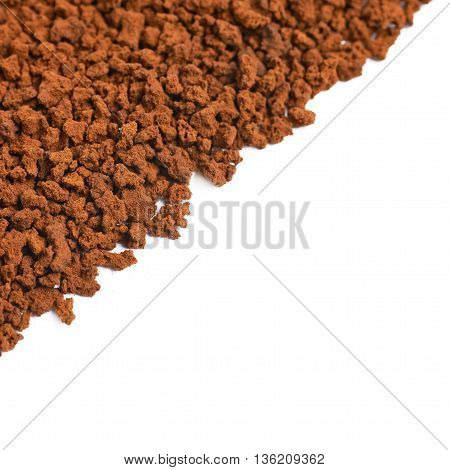 Surface coated with the instant coffee grains isolated over the white background as a copyspace backdrop composition
