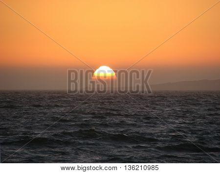 Sun setting  Over Ocean, West Coast South Africa