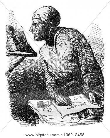 Subtle Doctor, vintage engraved illustration. Magasin Pittoresque 1836.