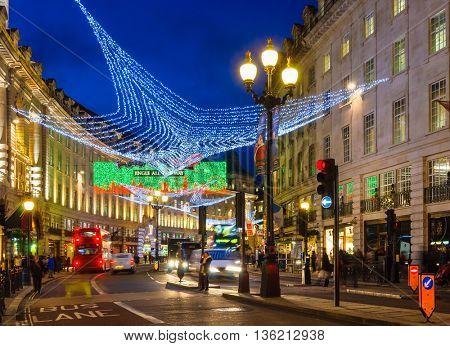LONDON, UK - CIRCA DECEMBER 2011: Christmas illuminations at Regent Street at night.