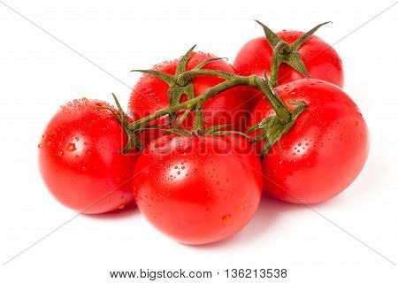 Tomato branch with water droplets isolated on white background.