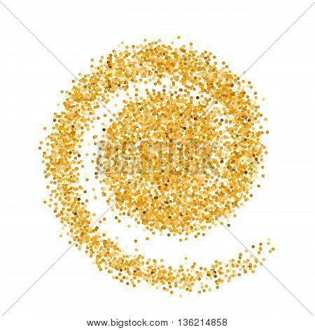 Golden Glitter Object in the Form of Wave on White Background
