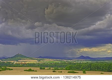 View of the Bohemian Central Highlands before rain