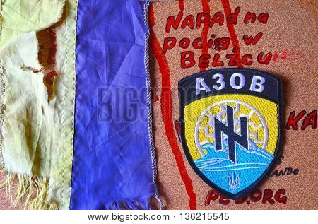 ILLUSTRATIVE EDITORIAL.Chevron Ukrainian nazionalist battalion .June 27,2016 in Kiev, Ukraine