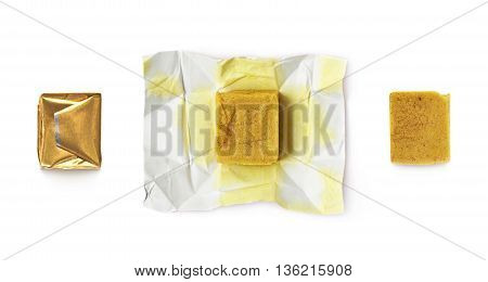 Bouillon stock broth cube isolated over the white background, set of three images, wrapped and unfolded