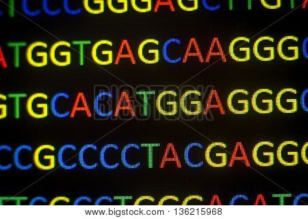 Dna Sequence With Colored Letters On Black Background