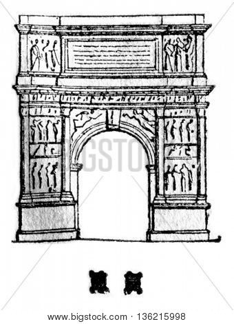 Arch of Trajan in Benevento, vintage engraved illustration. Magasin Pittoresque 1836.