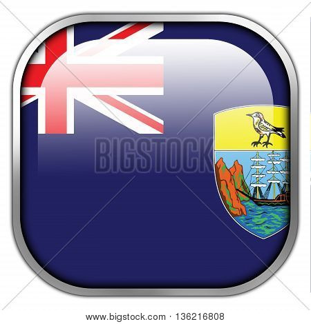 Flag Of Saint Helena, Square Glossy Button