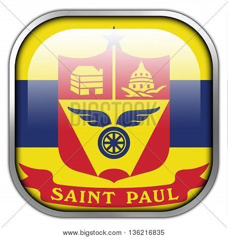 Flag Of Saint Paul, Minnesota, Square Glossy Button