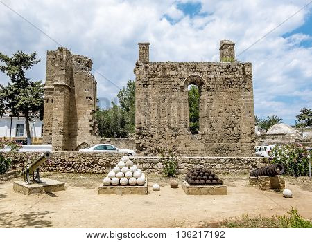 May 24 2016.Famagusta.Ruins of the Palace of Venetian governors in the old town of Famagusta .Northern Cyprus.