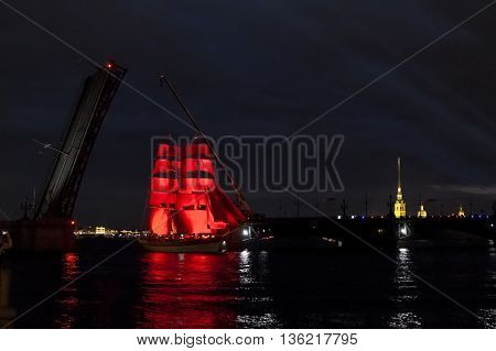 21 June 2015. Saint-Petersburg.Sailing in the Neva river on the occasion of alumni
