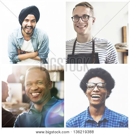 Man Hipster Working Writing Casual Vision Planning Strategy Concept