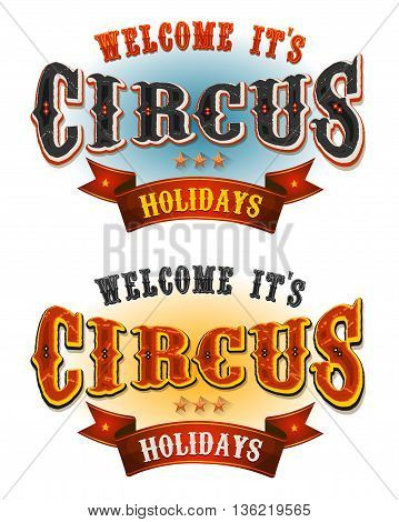Illustration of a set of retro circus welcome banners for carnival and festive cirque holidays and events