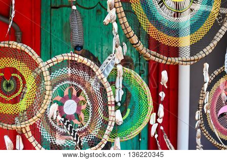 SAYULITA MEXICO MAY 28 2016: hand-made twigged dreamcathers at the craft market