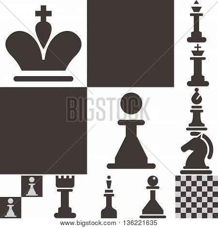 Chess icons set - chess board and chessmen