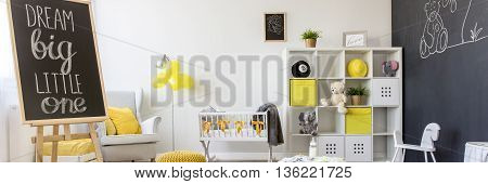 Cosy Baby Room With Blackboard Drawing Wall
