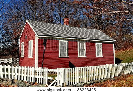 Brookline Massachusetts - November 25 2015: One room Putterham School house at the Larz Anderson Estate in use from 1768 to 1920